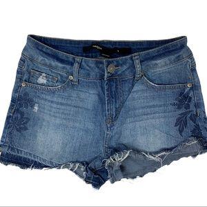 Harper denim cutoff shorts flower design size 28